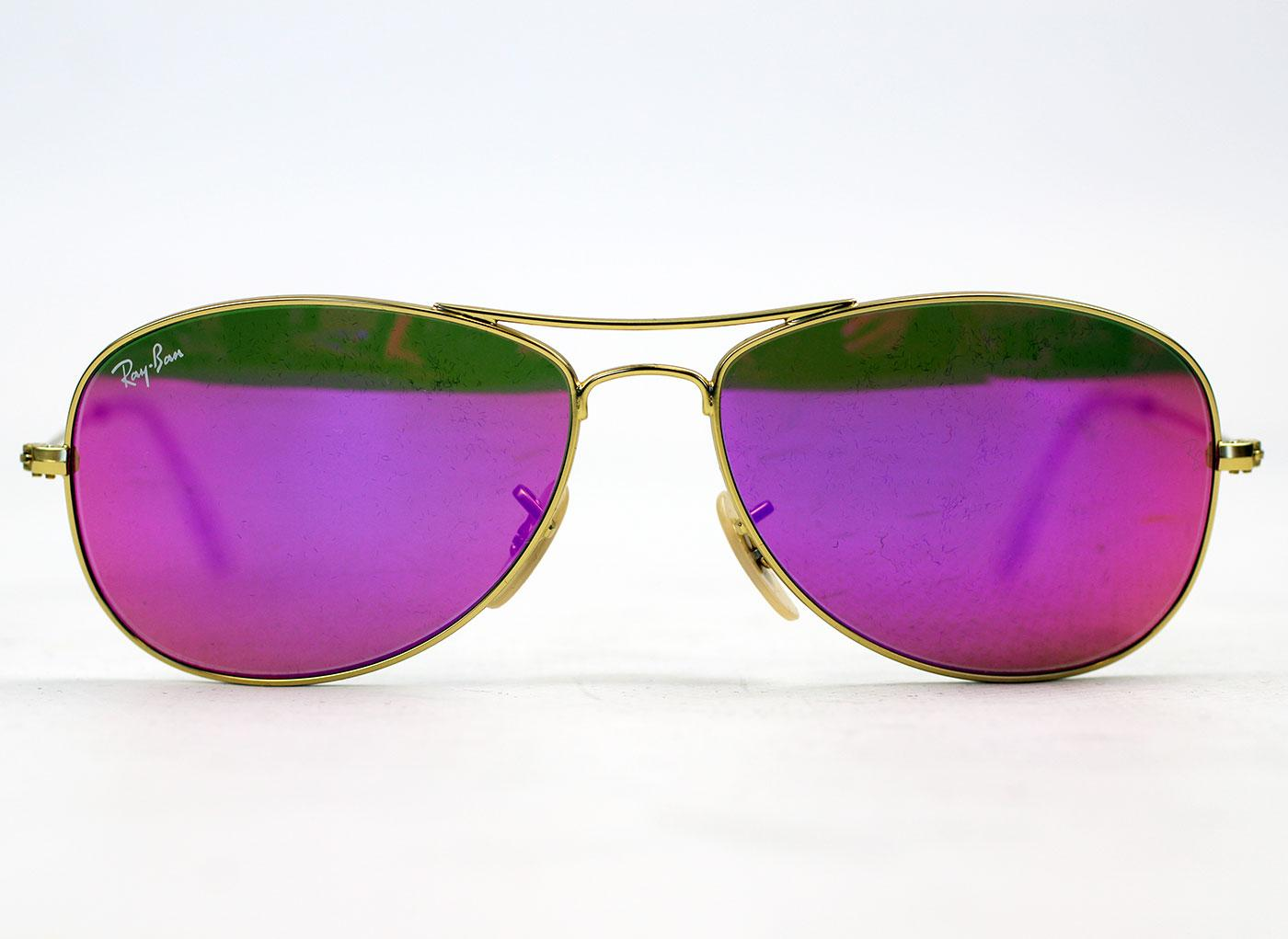cdb2802ee6 Ray-Ban Retro Indie Cockpit Flash Lens Sunglasses in Pink