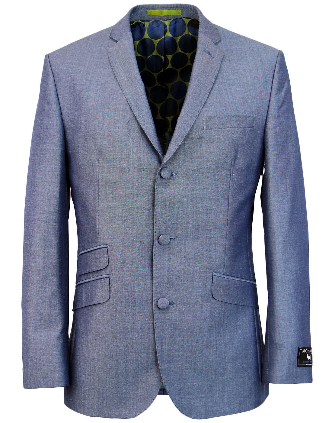 Retro Mod Mohair Blend 3 Button Suit Jacket BLUE