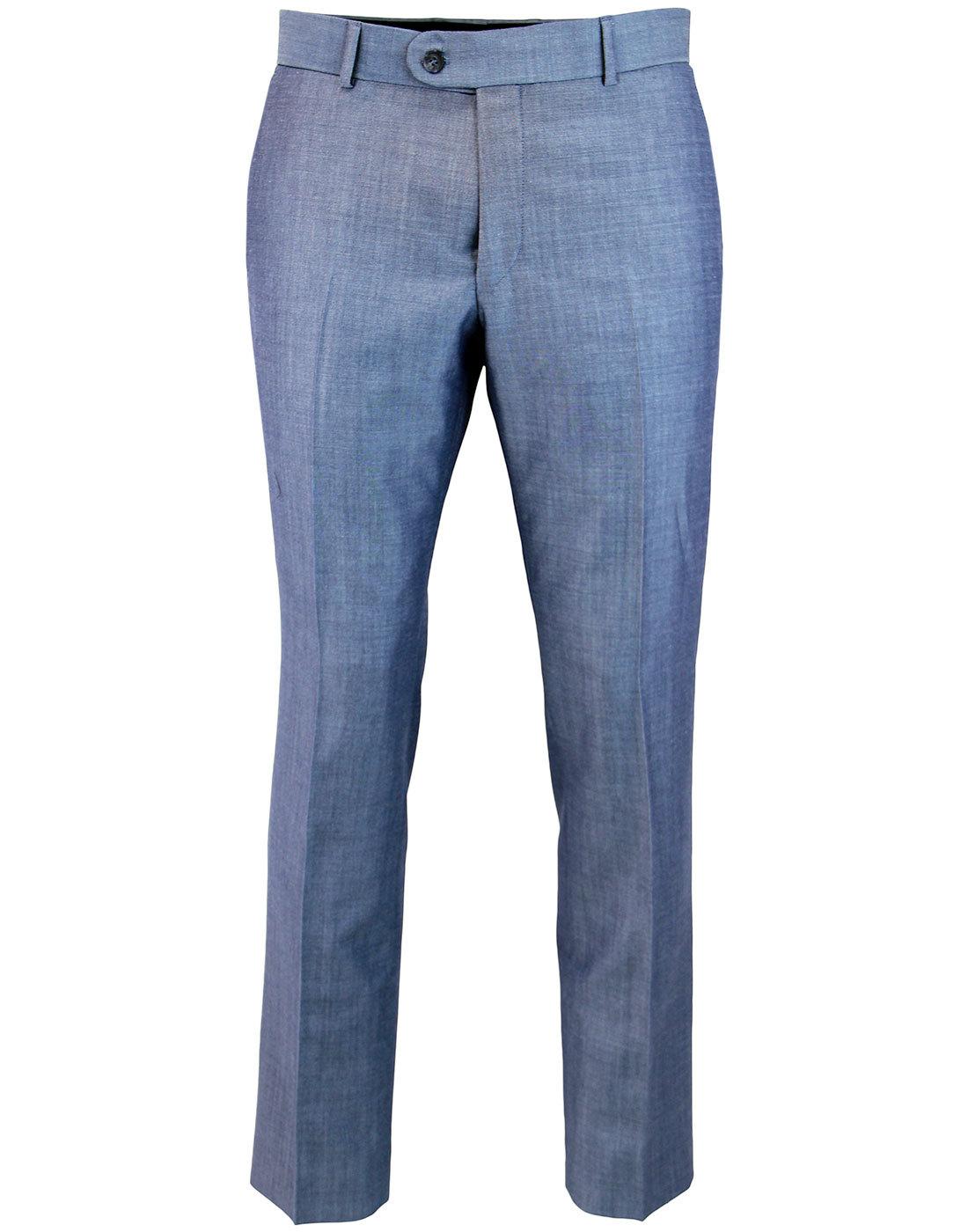 Retro 60s Mod Mohair Slim Tonic Suit Trousers BLUE