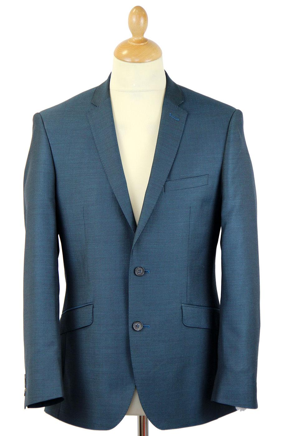 Retro 60s Mod 2 Button Tailored Suit Jacket TEAL