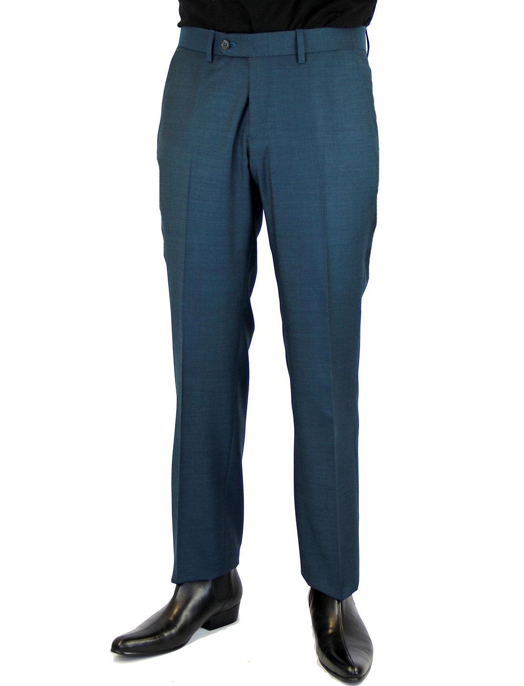 Retro 60s Mod Slim Plain Front Suit Trousers TEAL
