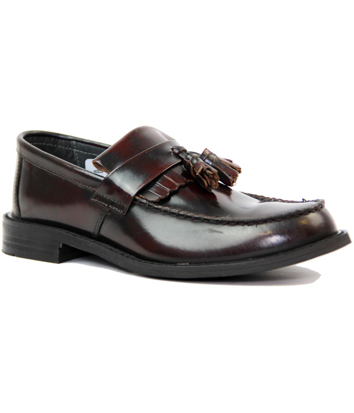 Retro Mod Tassel Fringe Leather Loafers (Oxblood)