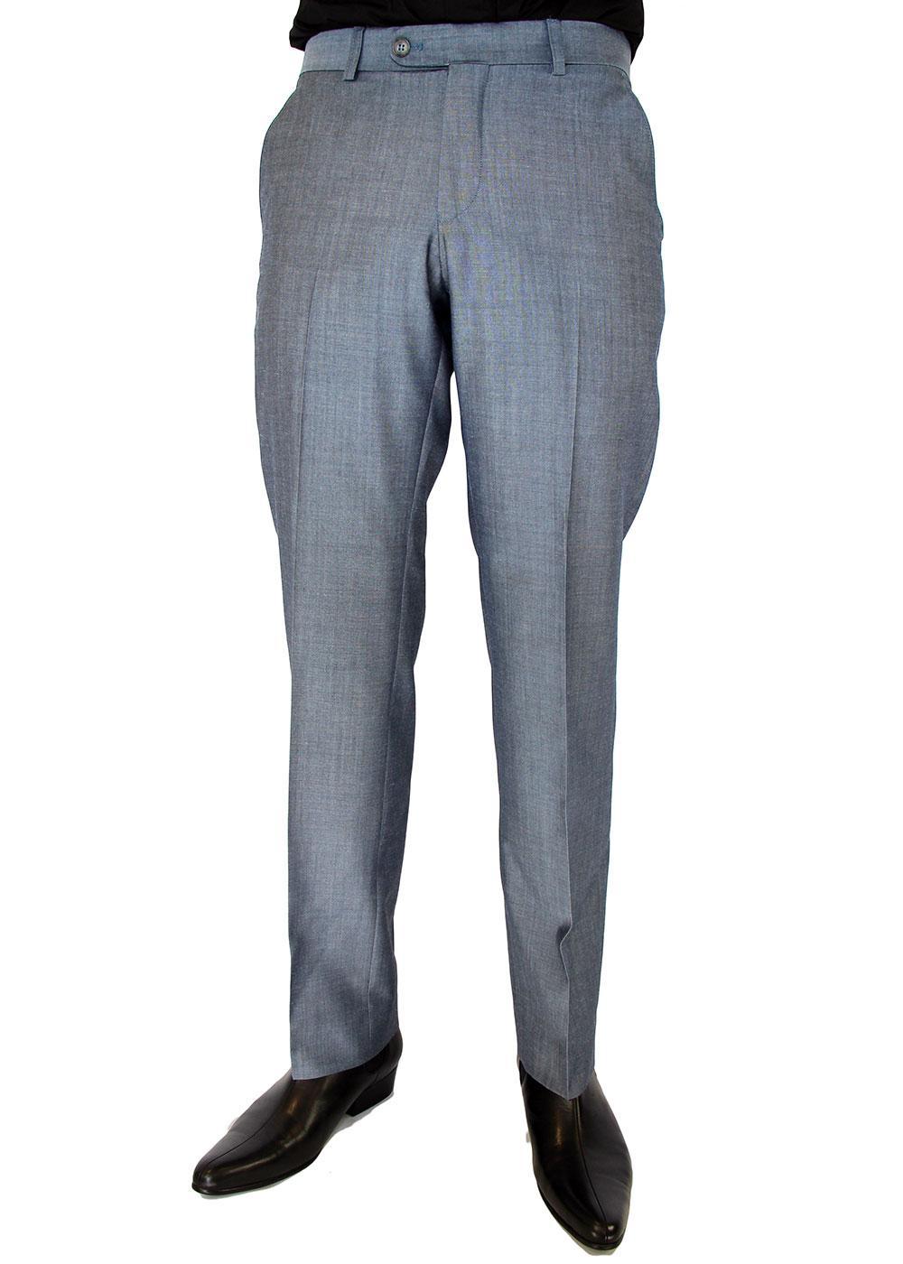 Retro 60s Mod Mohair Blend Slim Suit Trousers (LB)