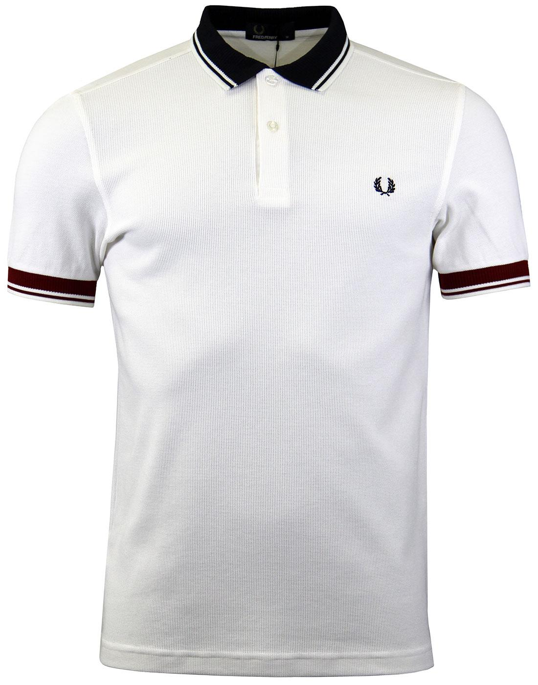 FRED PERRY M2585 Ribbed Pique Polo Snow White