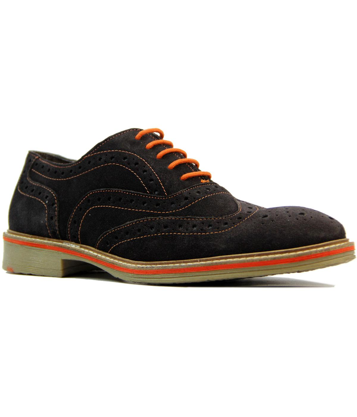 Retro Mod Suede Colour Pop Stitch Oxford Brogues
