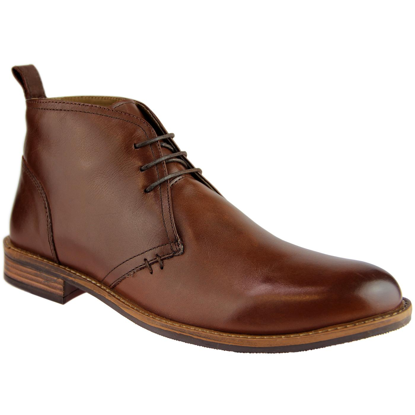 Men's Retro Indie Mod Leather Desert Boot (Brown)