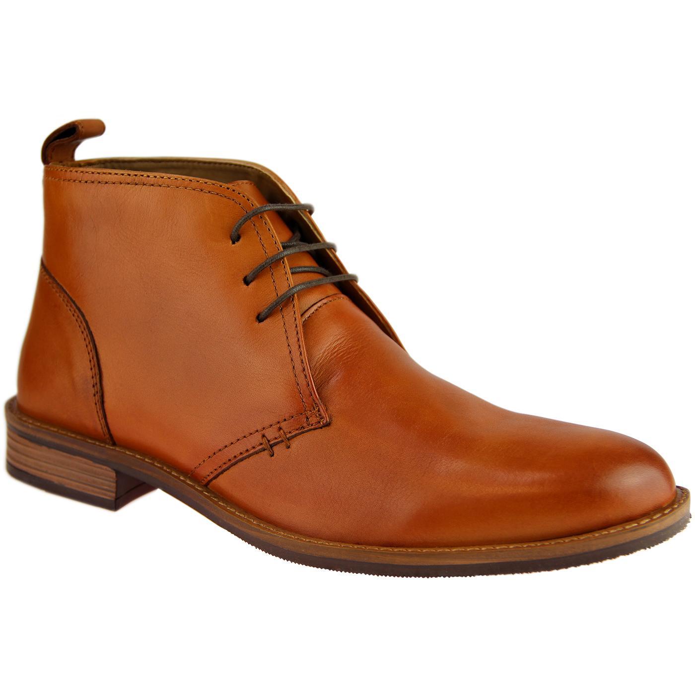 Men's Retro Indie Mod Leather Desert Boot (Tan)