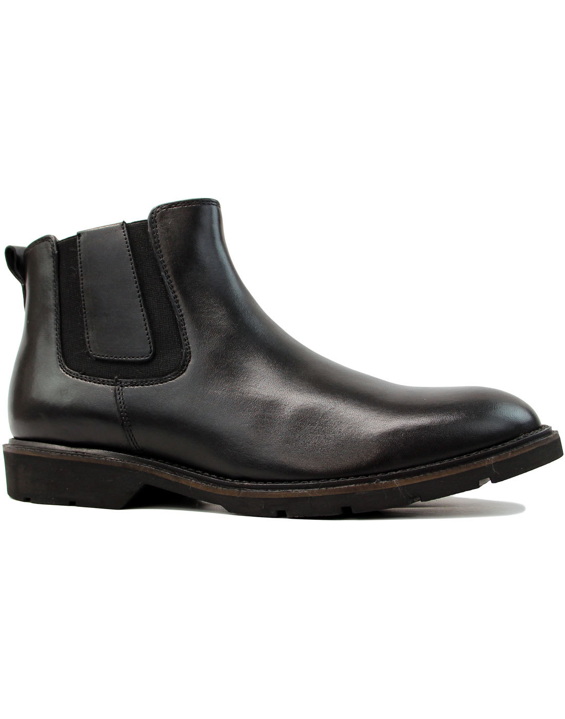 Rider Retro Mod Smooth Leather Chelsea Boots BLACK