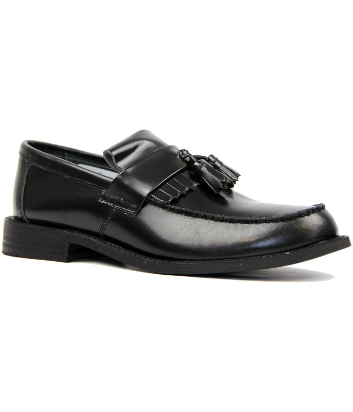 Retro Mod Tassel Fringe Leather Loafers (Black)