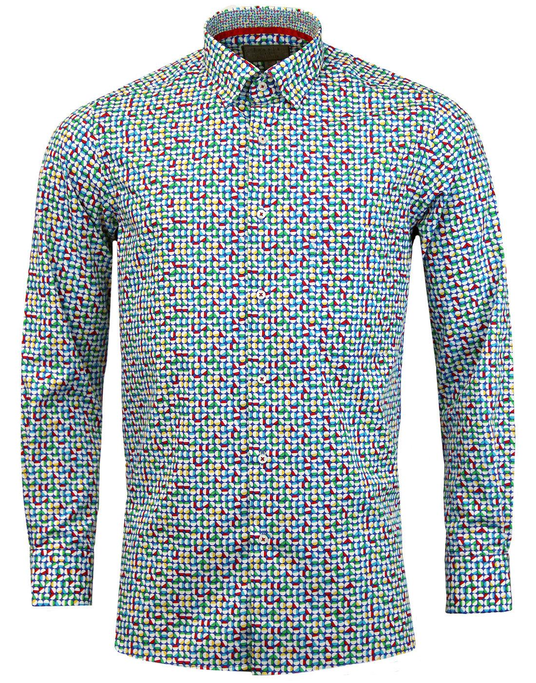 ROCOLA Retro Mod Op Art Circle Button Under Shirt