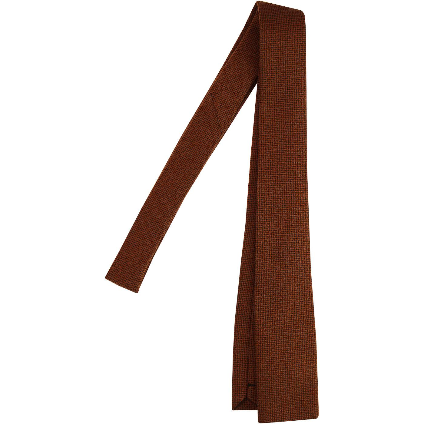 GIBSON LONDON Mod Square End Knitted Tie in Rust