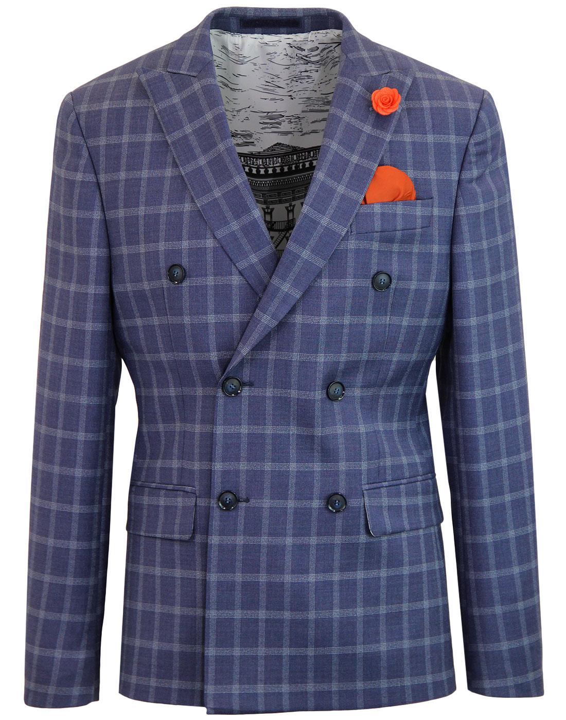Men's Retro Mod Check Double Breasted Suit Blazer