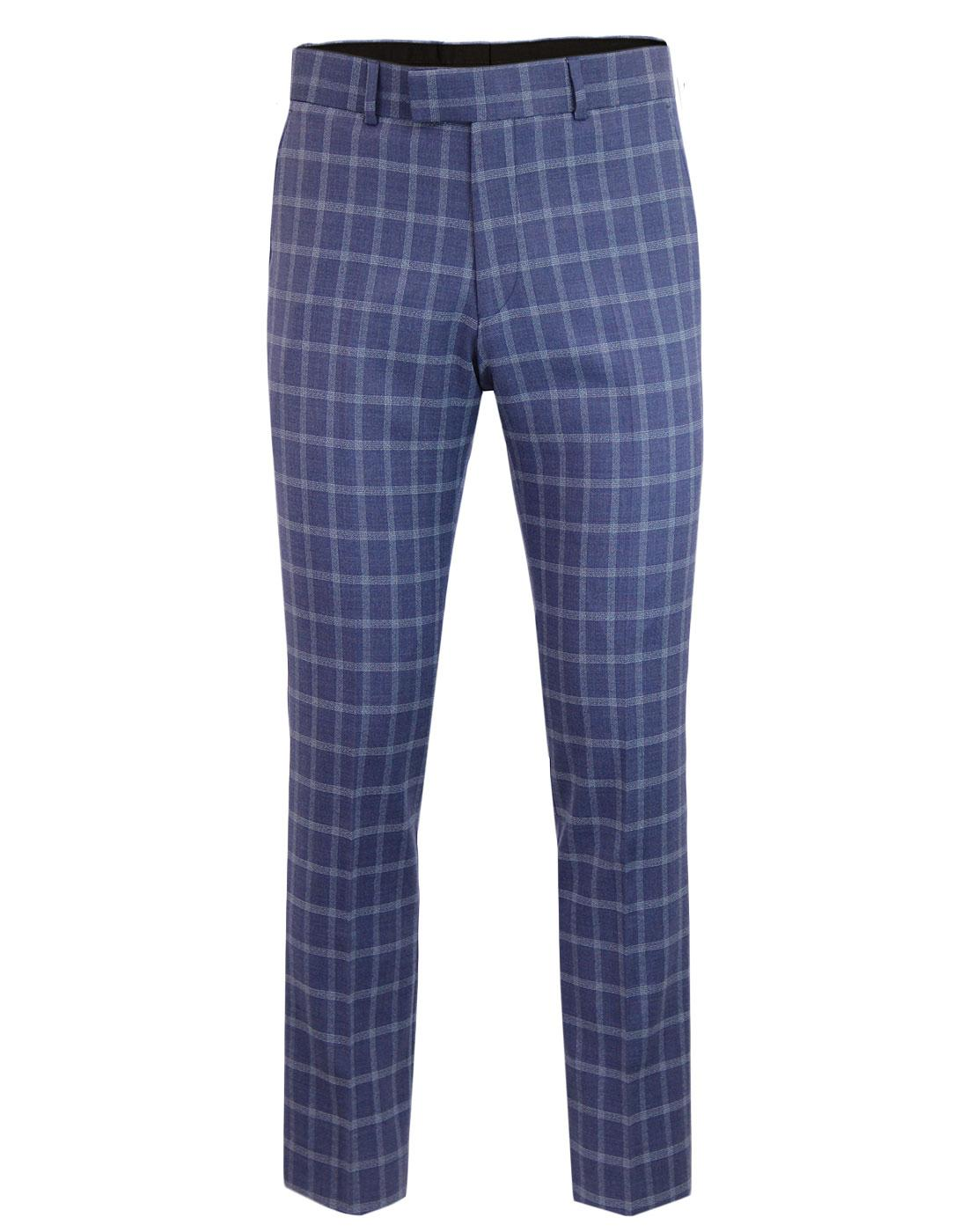 Men's Retro 60s Mod Check Slim Suit Trousers BLUE