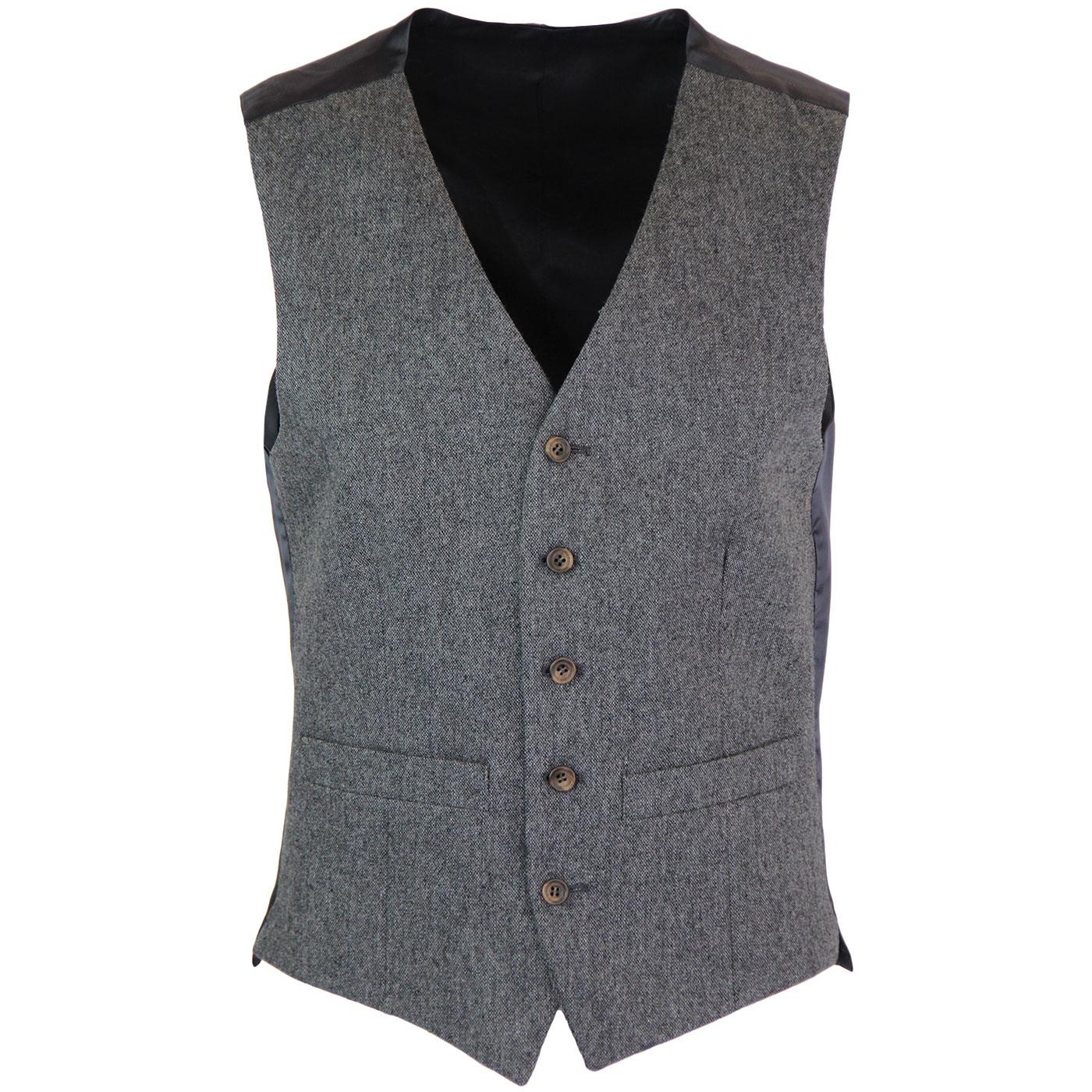 Men's 60s Mod Donegal V-Neck Waistcoat (Charcoal)