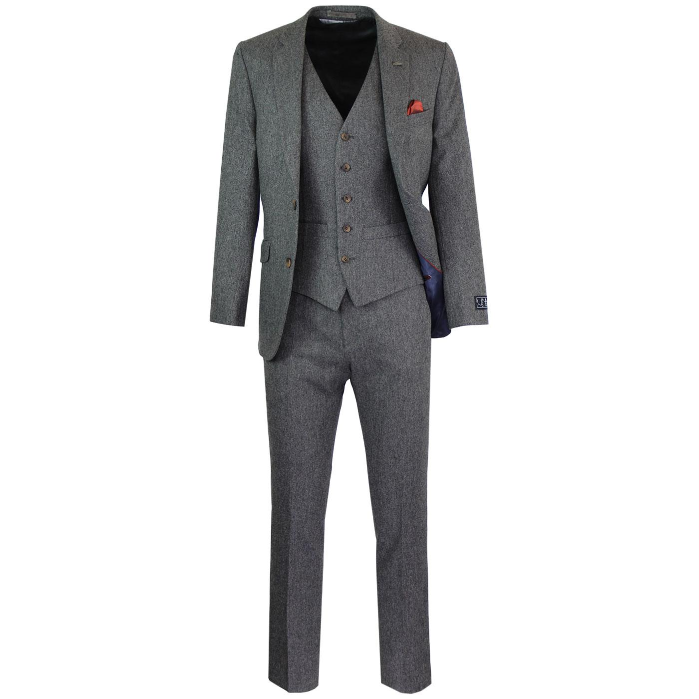 Men's Retro Mod Donegal 2 or 3 Piece Suit Charcoal