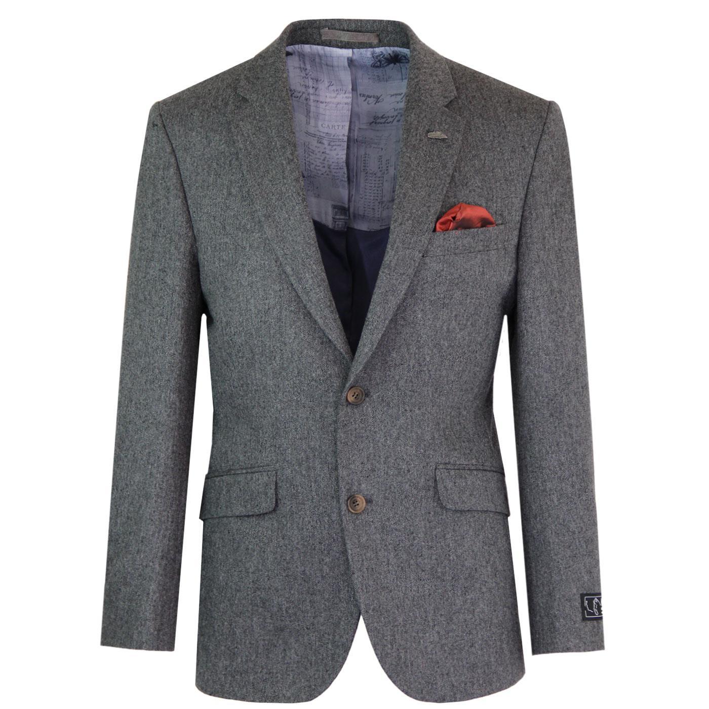 Men's Mod Donegal 2 Button Suit Jacket (Charcoal)