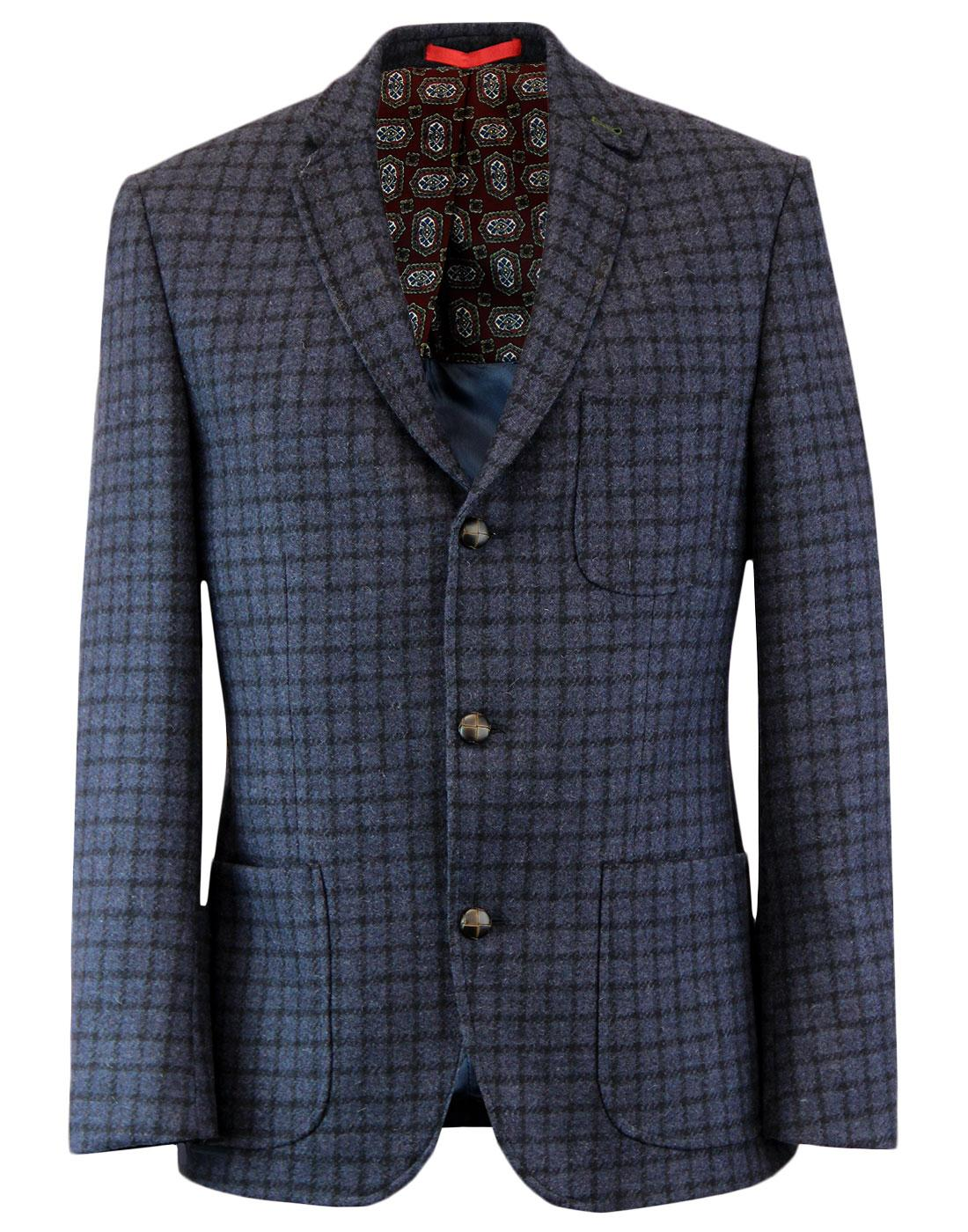 Retro Mod 3 Button Blue Tweed Check Blazer Jacket