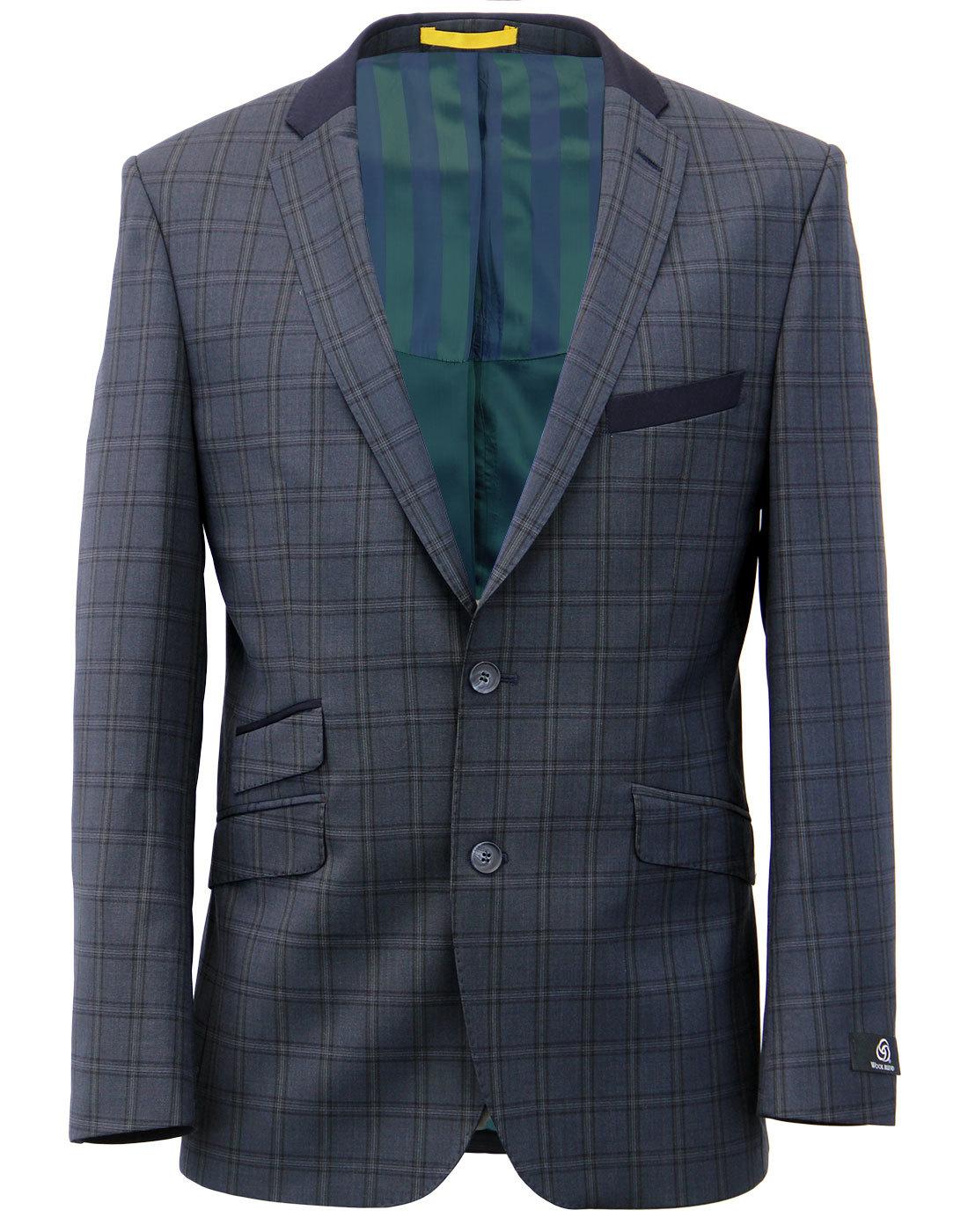Retro Mod Wool Blend Check 2 Button Suit Jacket