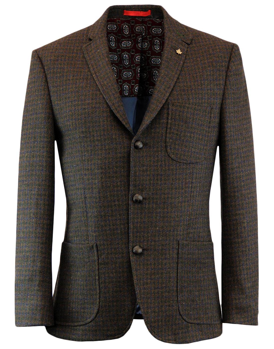 Retro Mod 3 Button Dogtooth Check Blazer Jacket