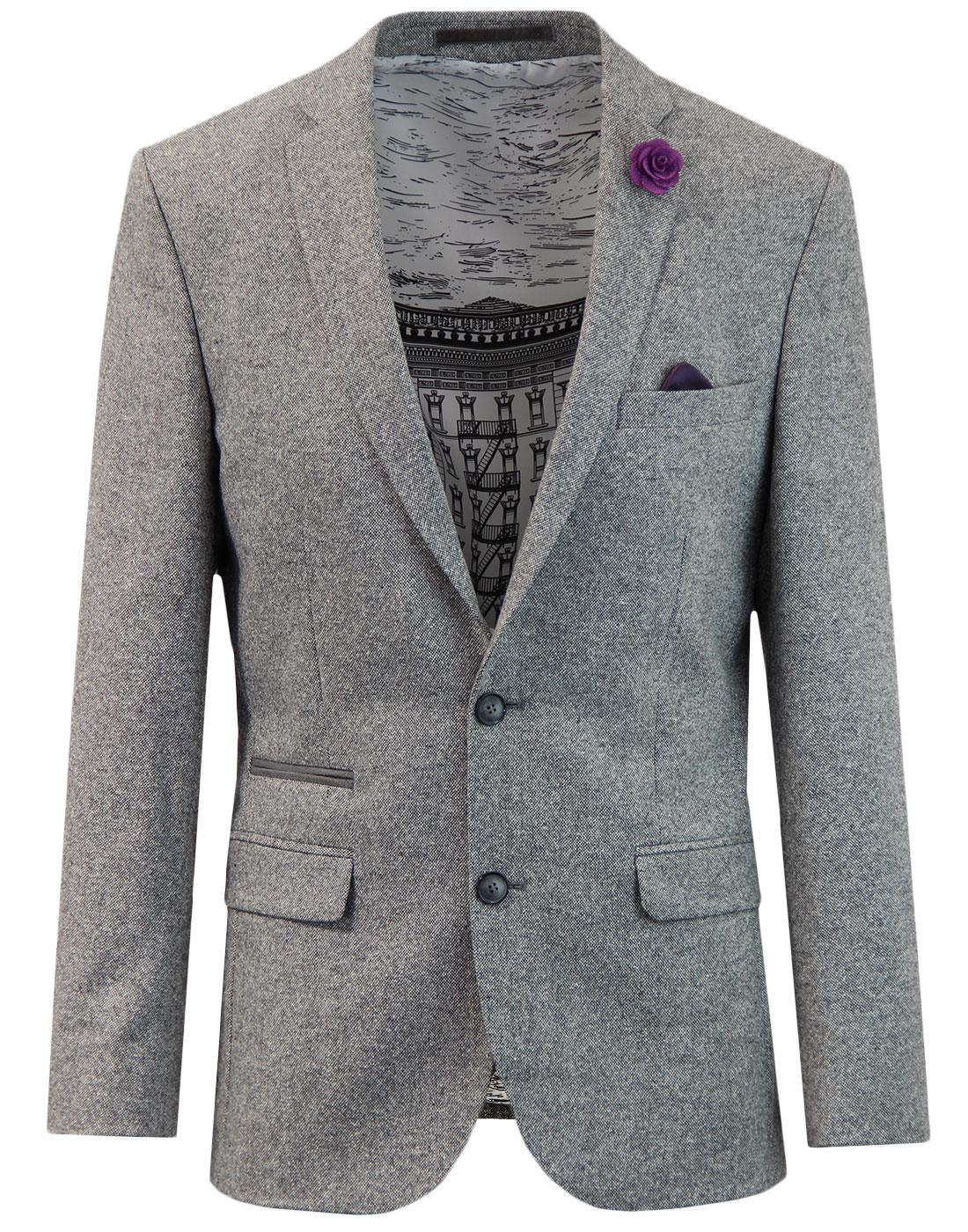 60s Mod Donegal Fleck 2 Button Suit Jacket SILVER