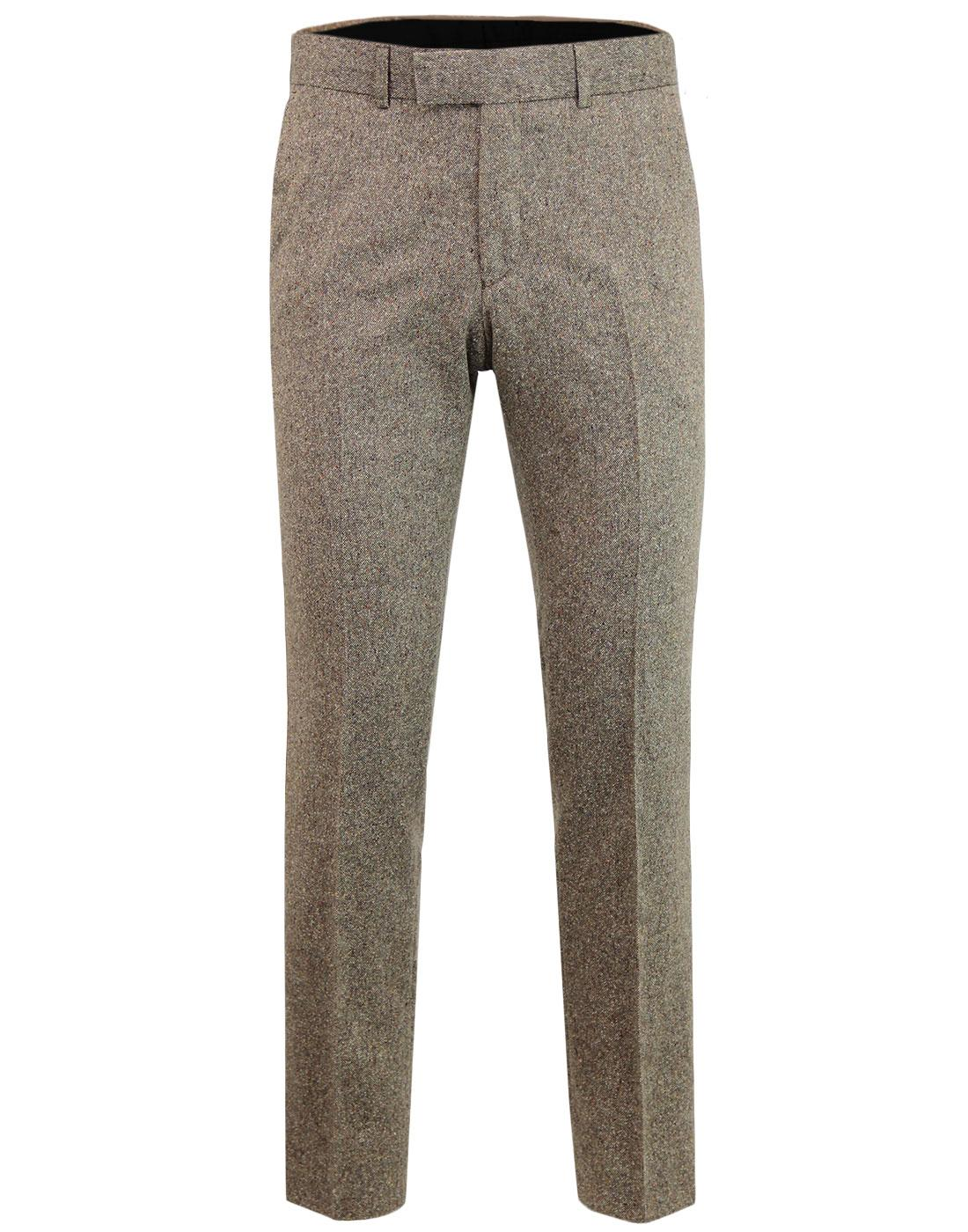 Retro Mod Donegal Fleck Slim Suit Trousers BISCUIT