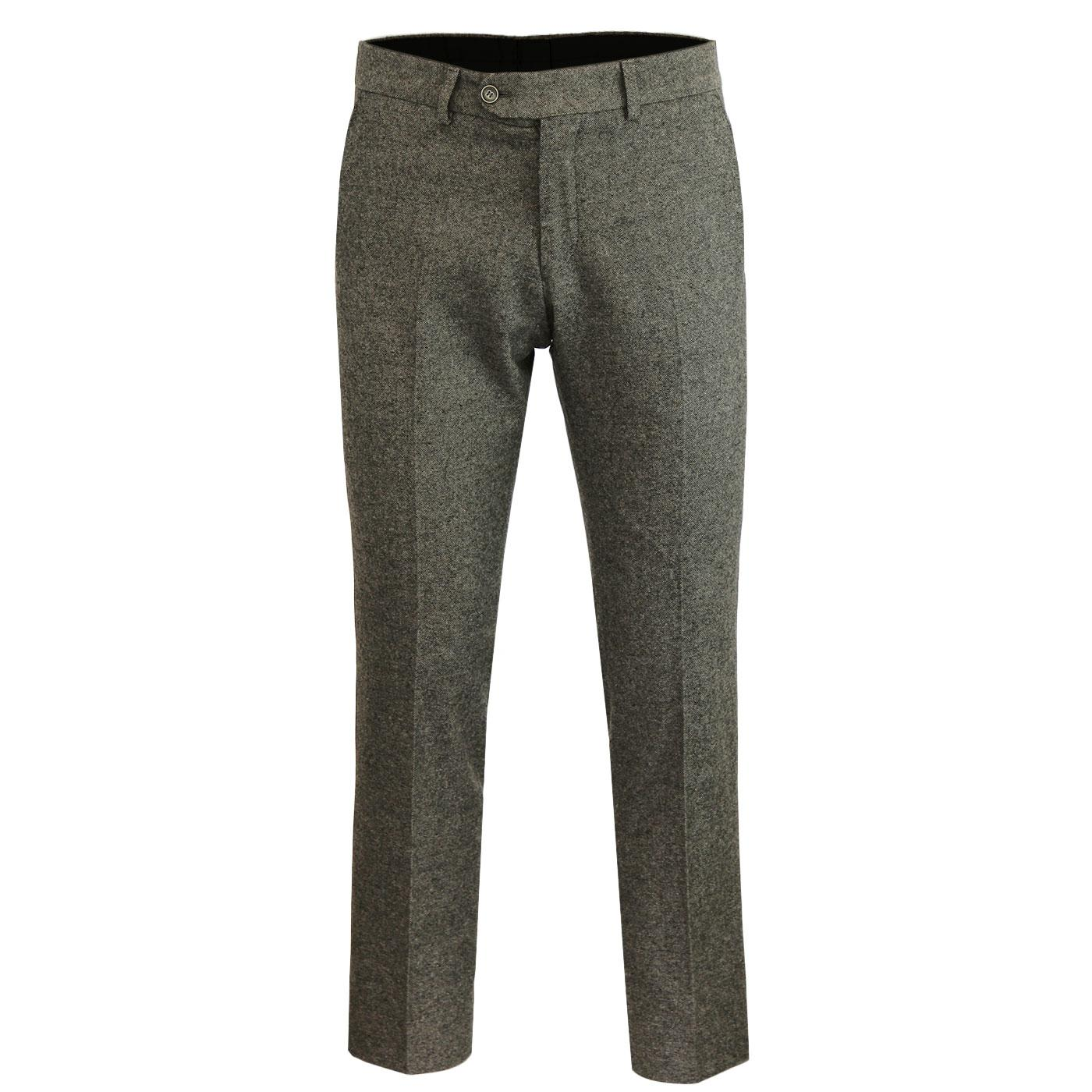 Men's Retro Mod Slim Taupe Donegal Suit Trousers