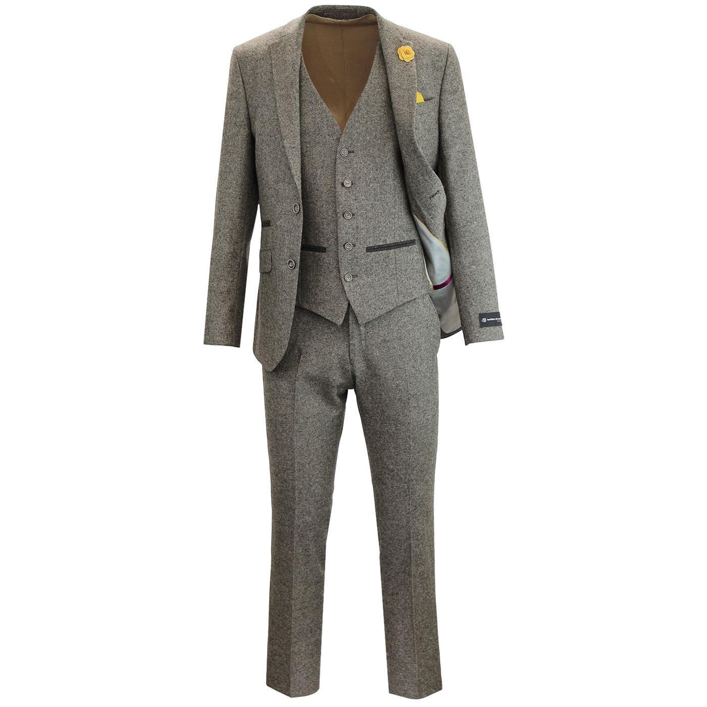 Mens Retro 60s Mod 3 Piece Donegal Suit in Taupe