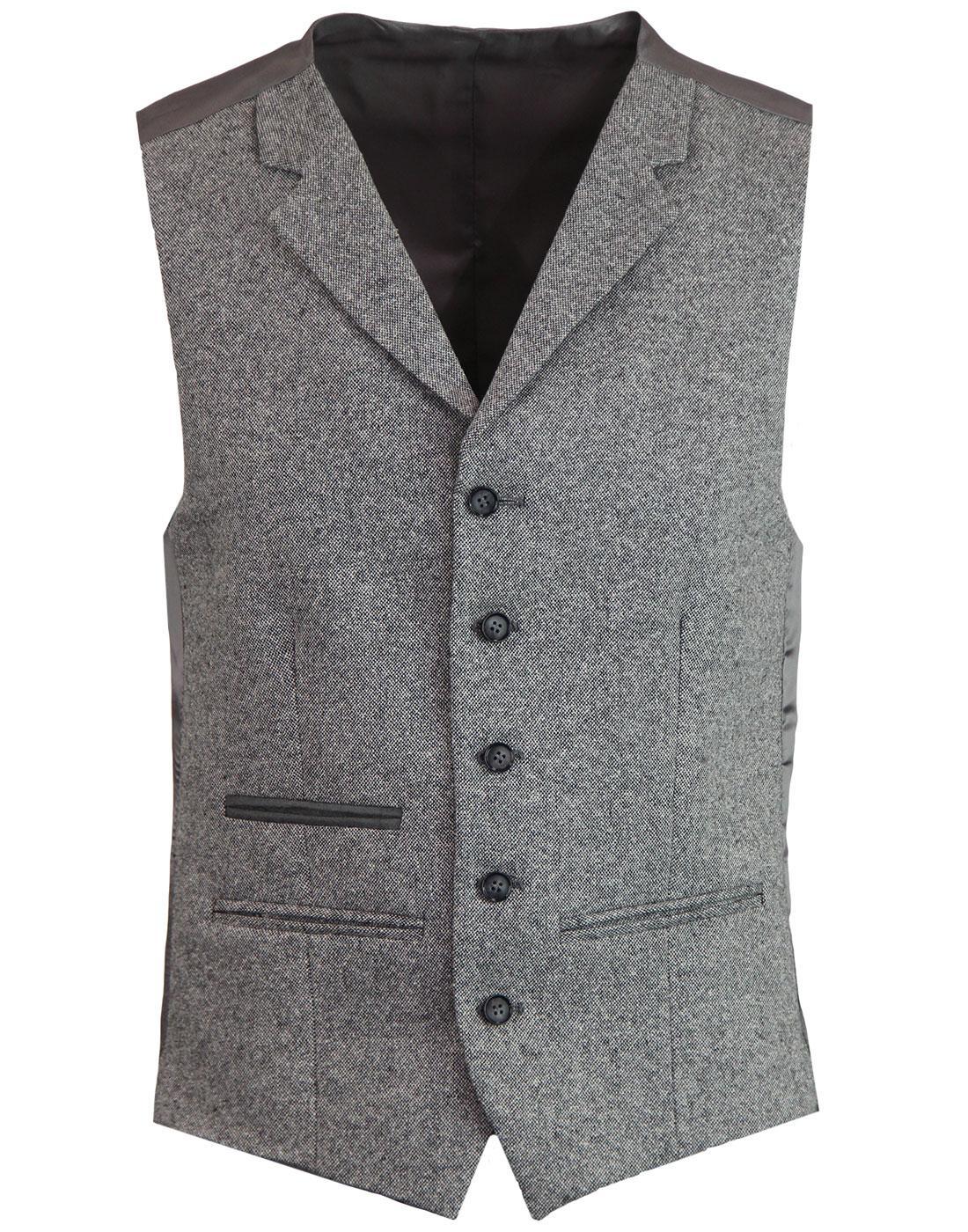 Retro 60s Mod Donegal Fleck Lapel Waistcoat SILVER