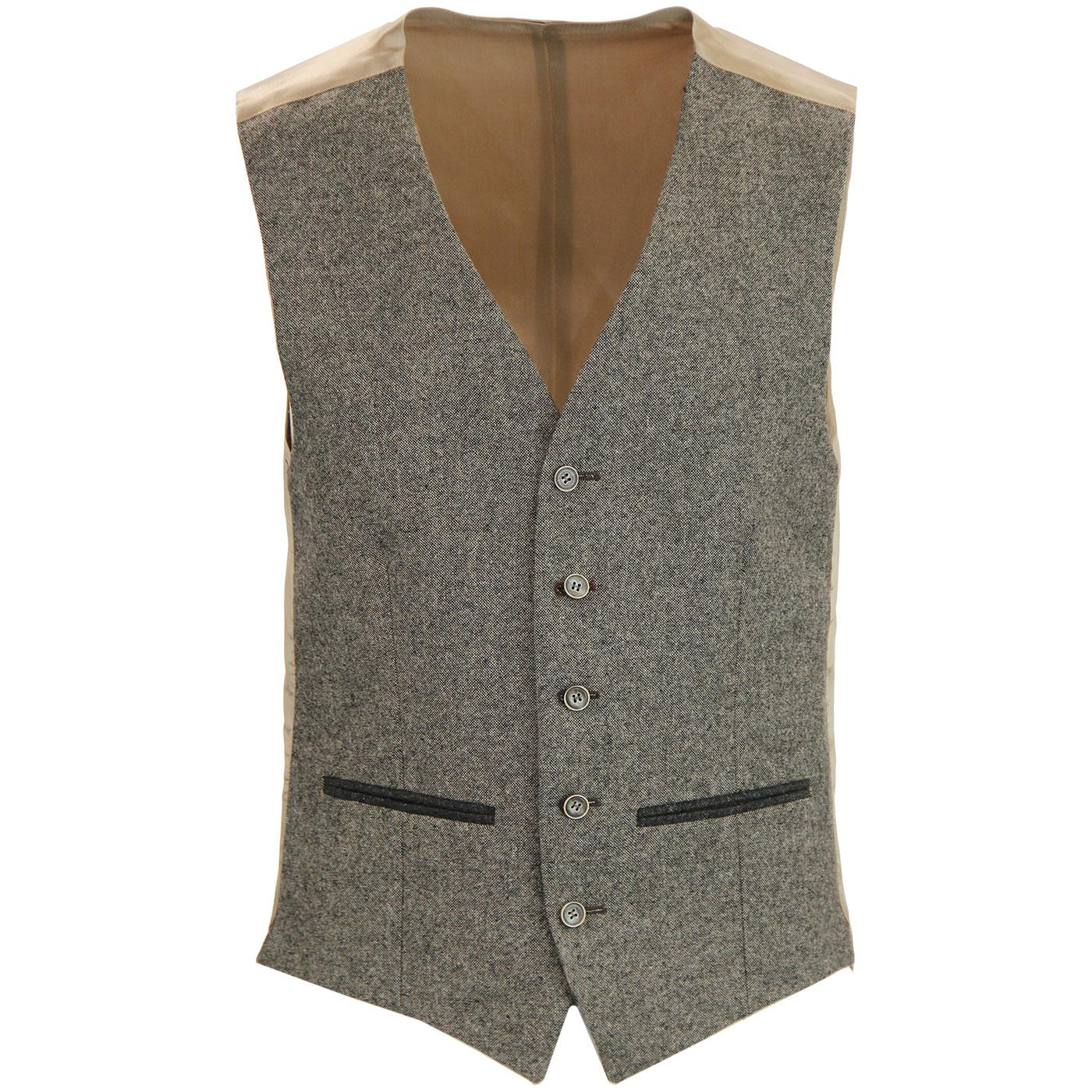 Men's Mod 5 Button V-Neck Taupe Donegal Waistcoat