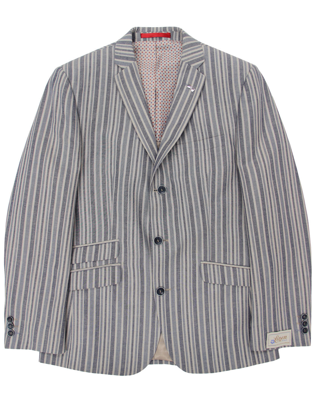 Retro 60s Mod Linen Blend Striped 3 Button Boating Blazer ...