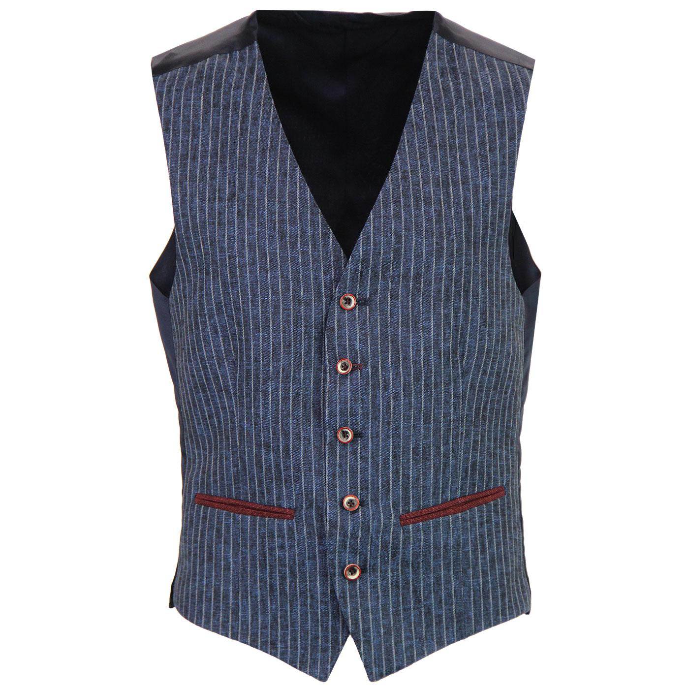 1960s Mod 5 Button Linen Blend Pinstripe Waistcoat