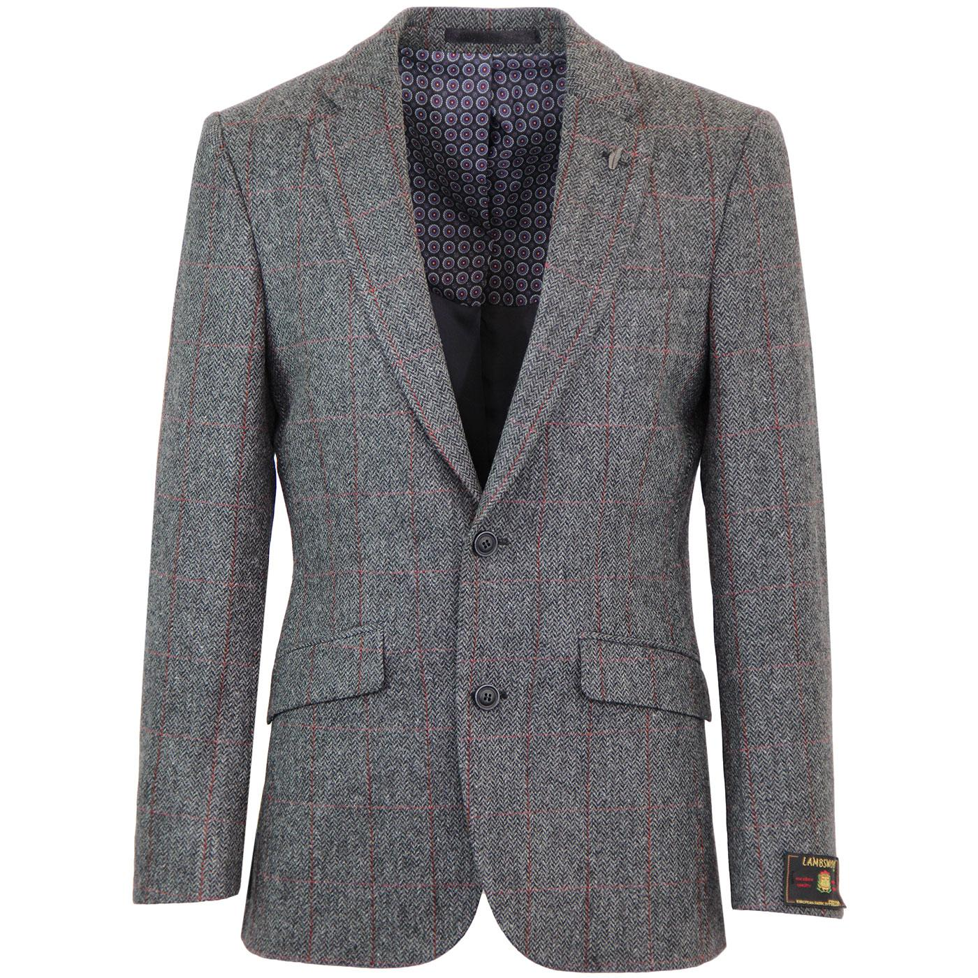 Mod Herringbone Windowpane Check Blazer Jacket (C)