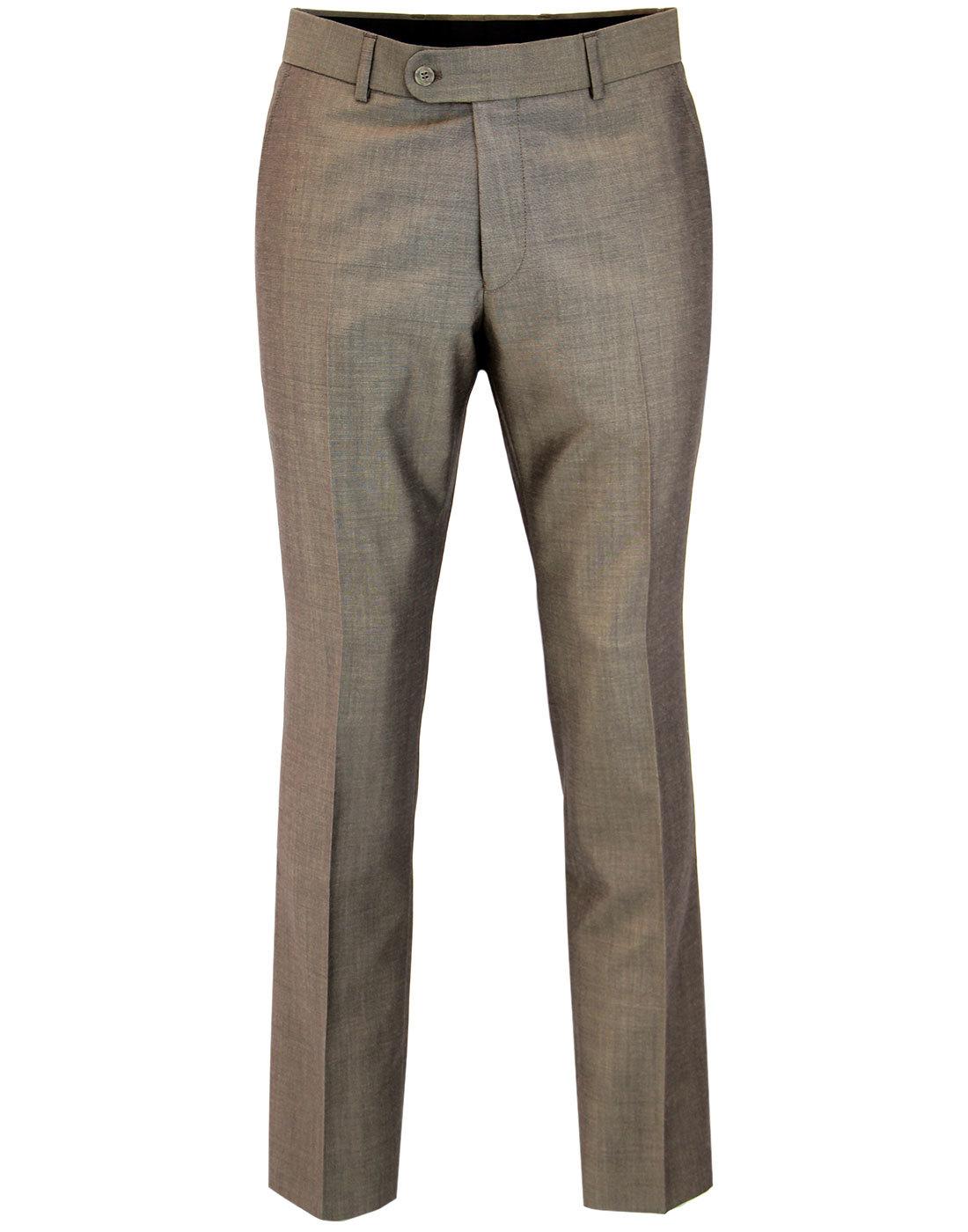 Men's Retro Mod Mohair Tonic Suit Trousers TAUPE