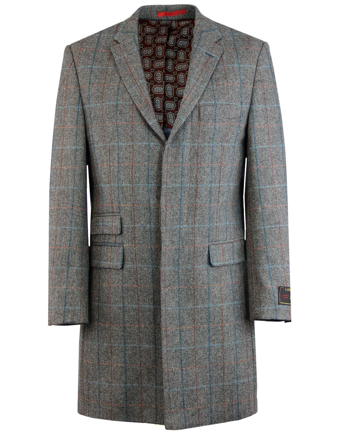 Mod Herringbone Check Three Quarter Length Coat