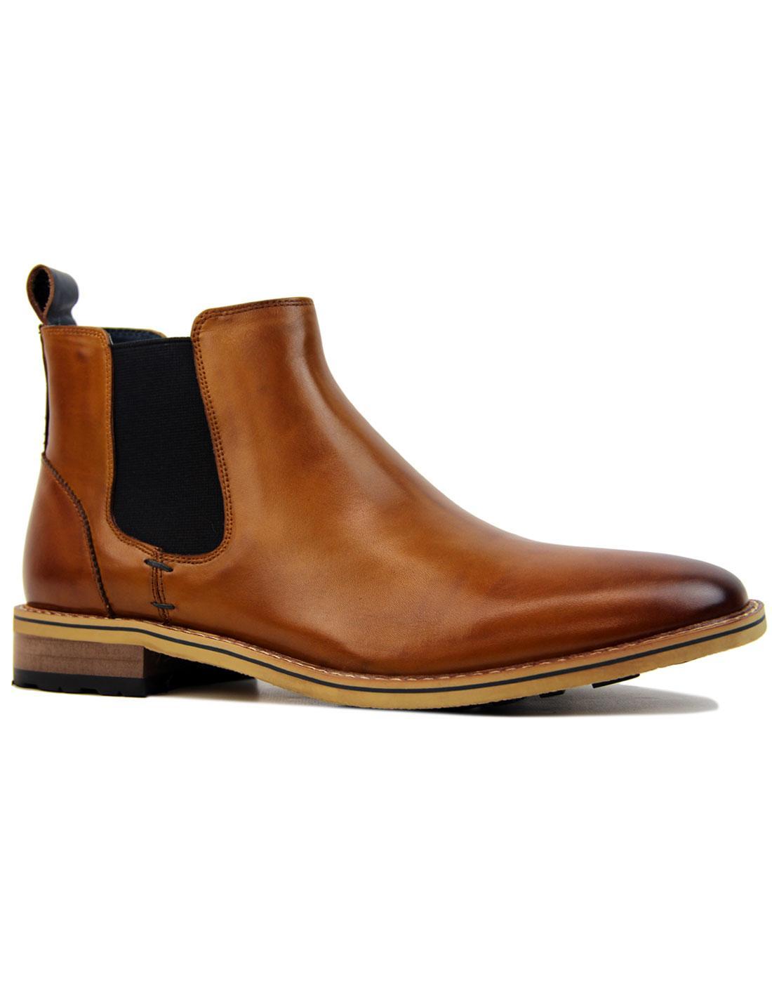 Lenny SERGIO DULETTI Retro Mod Chelsea Boots BROWN