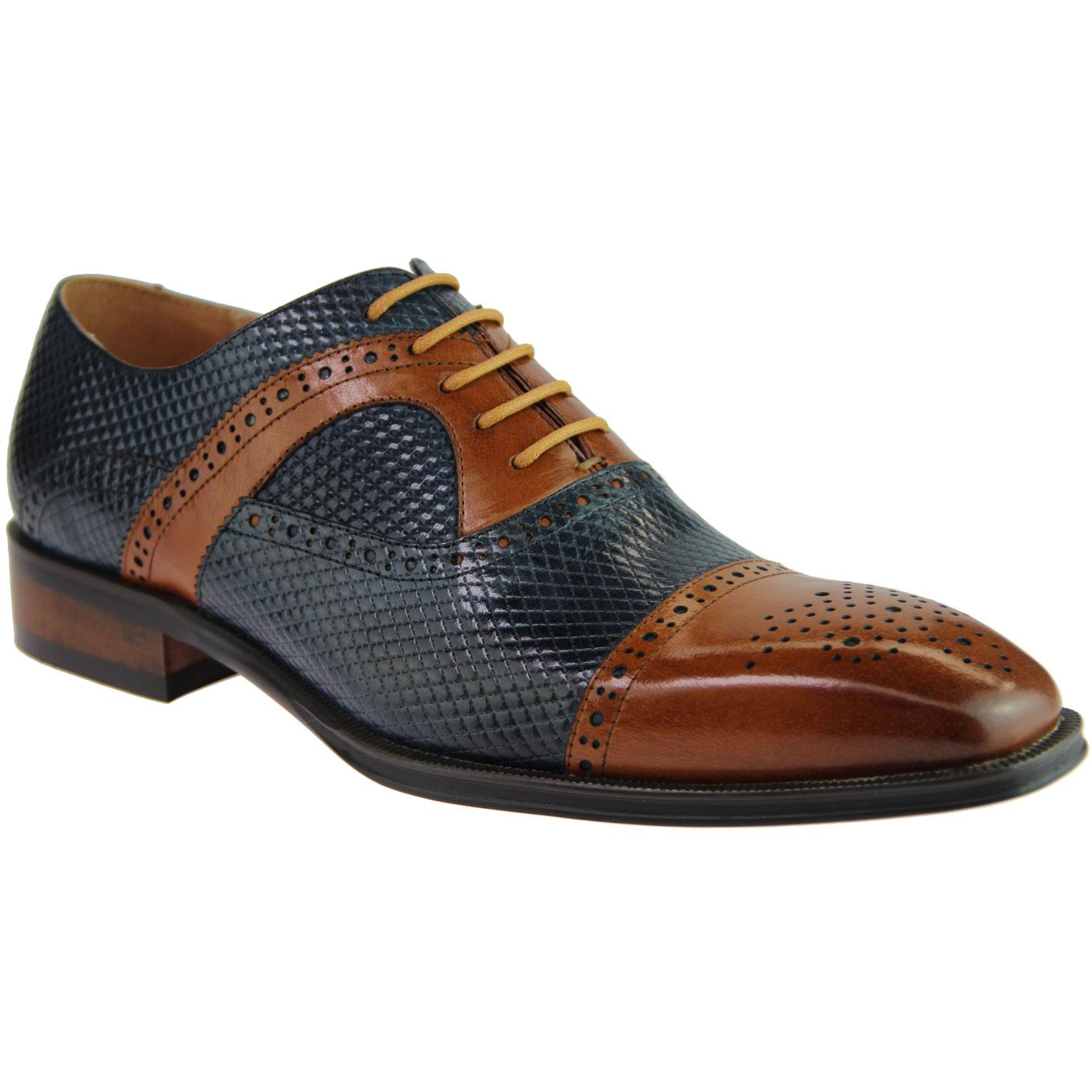 Montegro SERGIO DULETTI Lattice Stamp Brogues NAVY