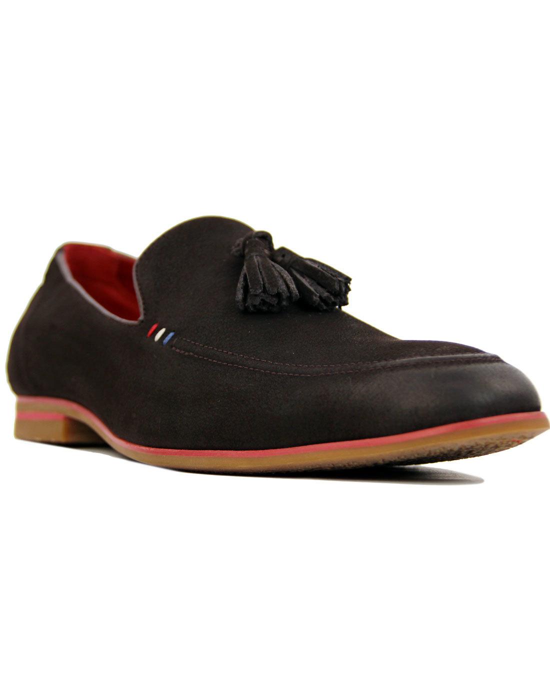 Rene SERGIO DULETTI Leather Tassel Loafers COFFEE