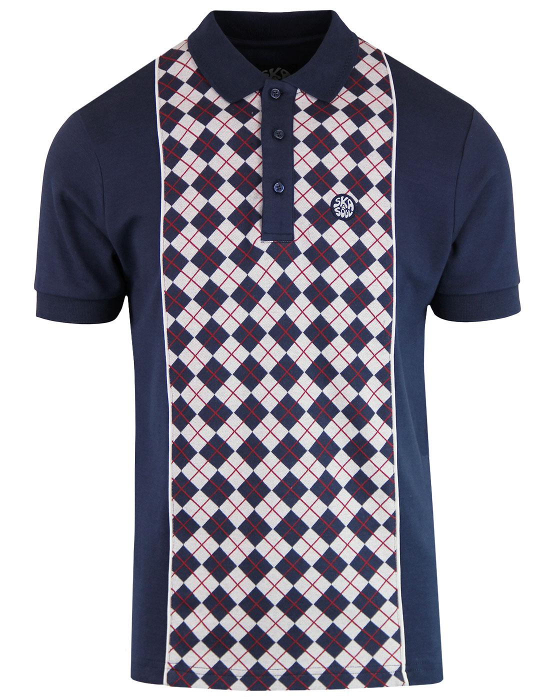 SKA & SOUL Retro Mod Argyle Panel Polo Shirt NAVY