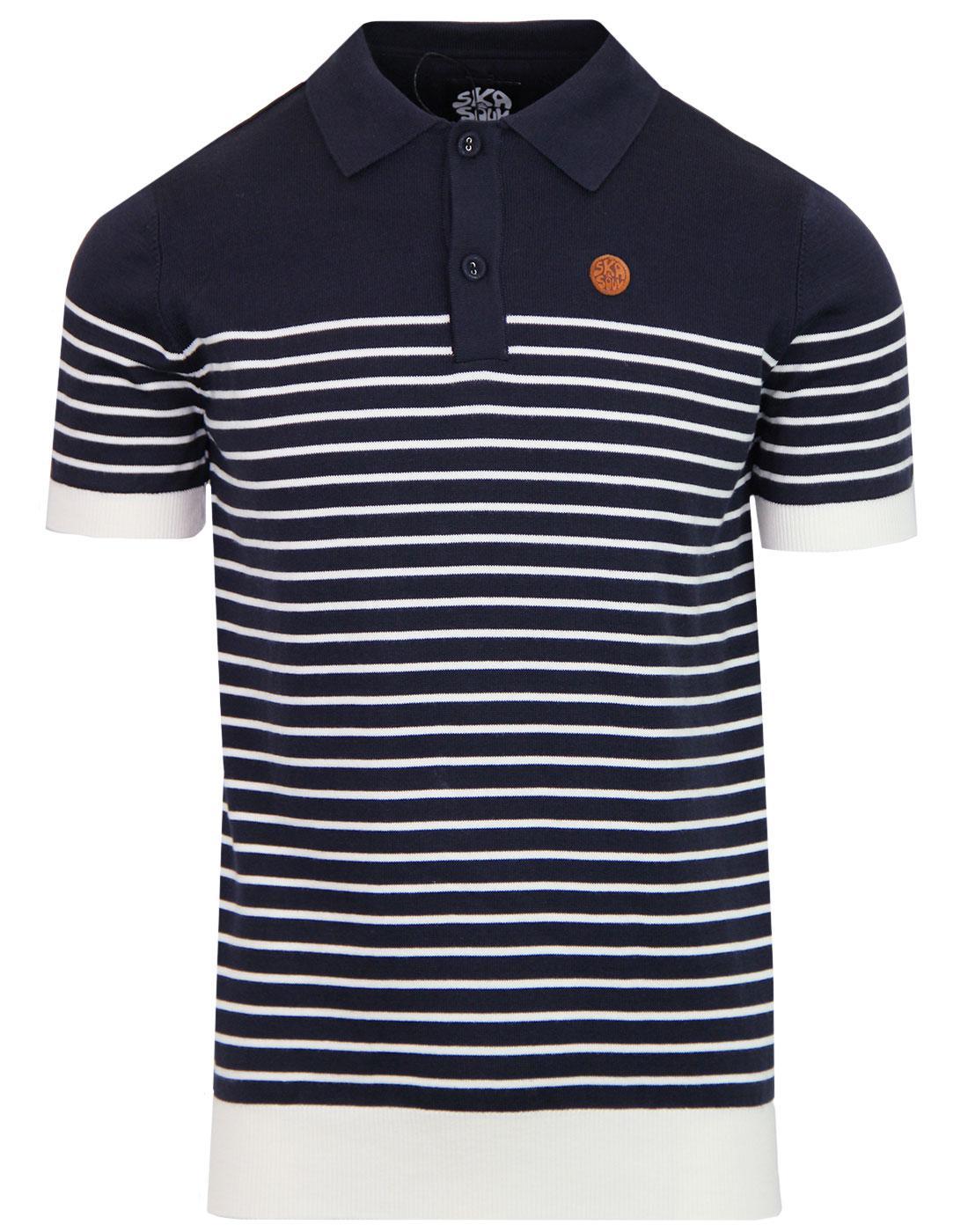 SKA & SOUL Mod Breton Stripe Knit Polo Shirt NAVY