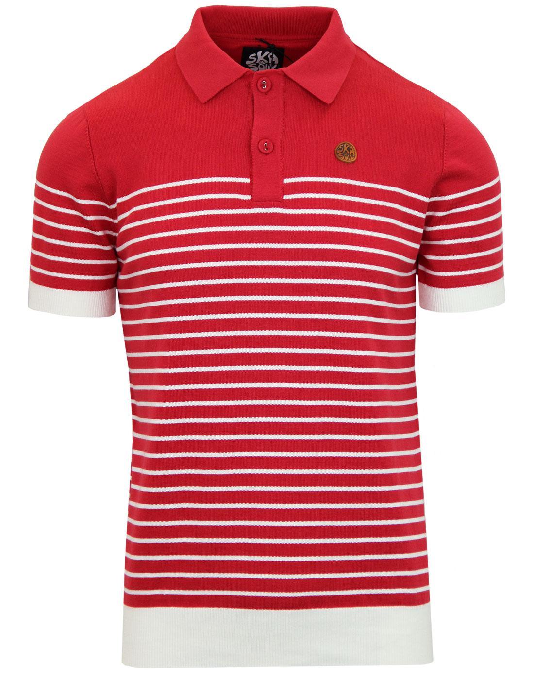SKA & SOUL Retro Mod Breton Stripe Knit Polo Top R