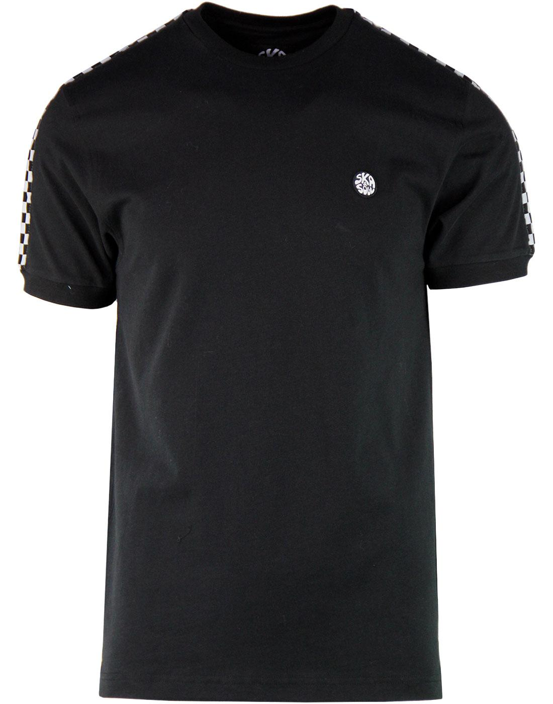 SKA & SOUL Men's Checkerboard Tape Sleeve T-shirt