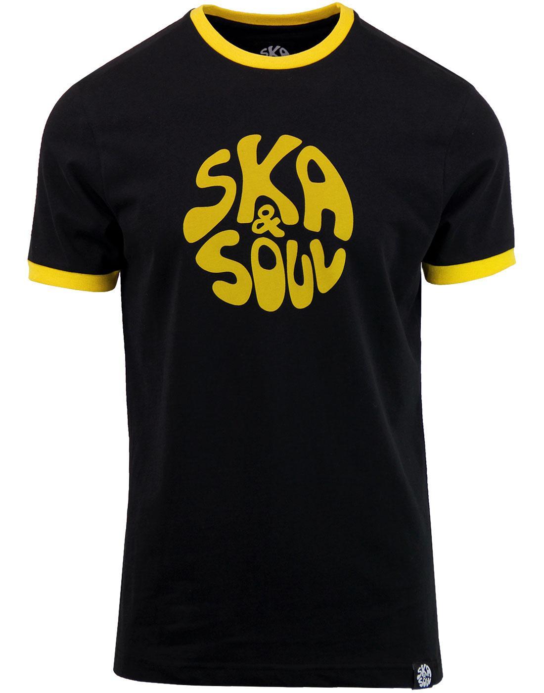 SKA & SOUL Men's Retro Mod Ringer Logo Tee