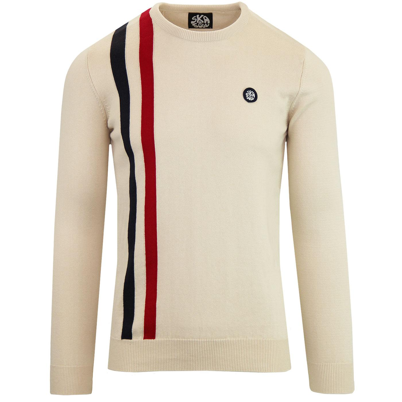 SKA & SOUL 60s Mod Knitted Racing Jumper In Stone