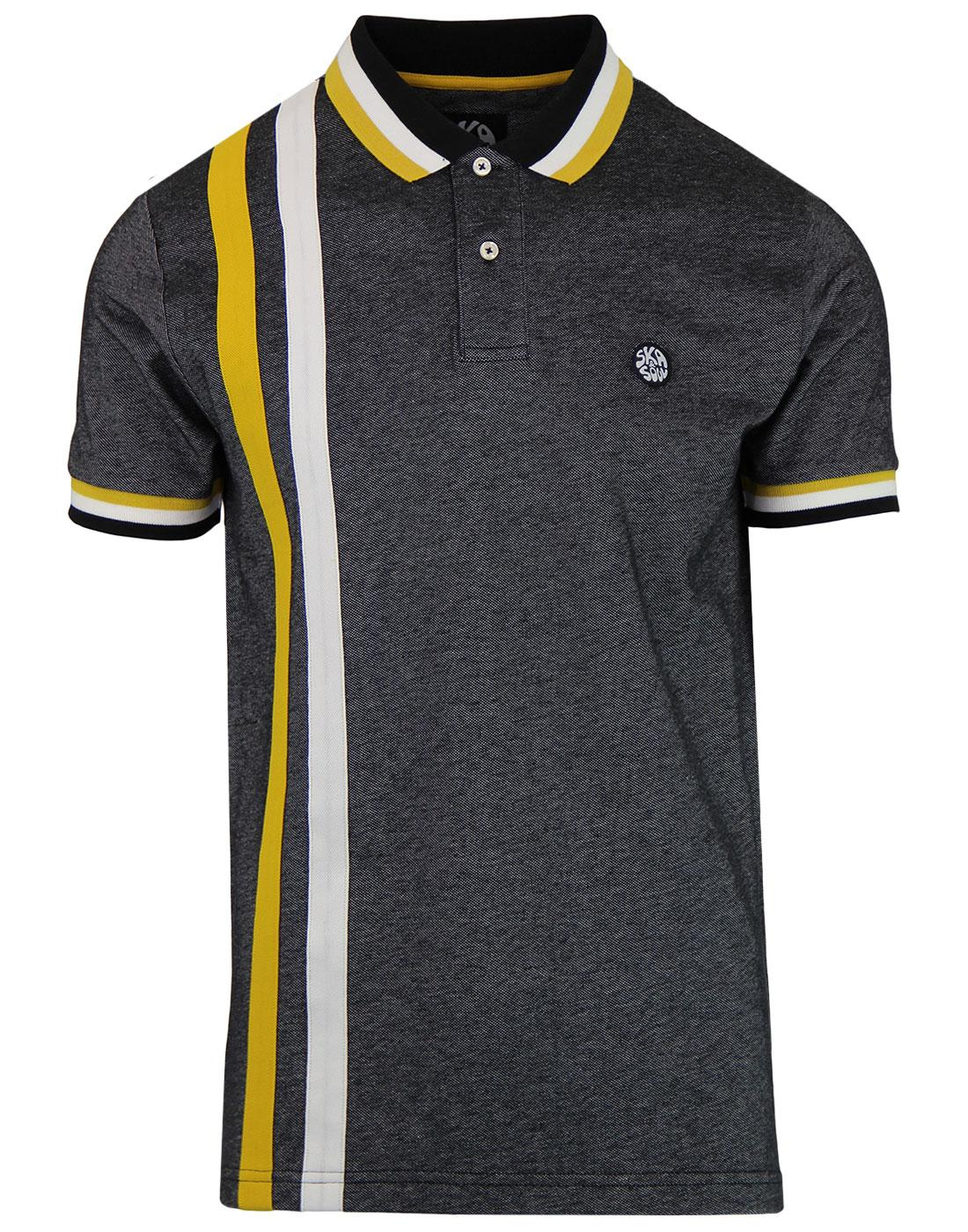 SKA & SOUL Mod Racing Stripe Oxford Polo Top BLACK
