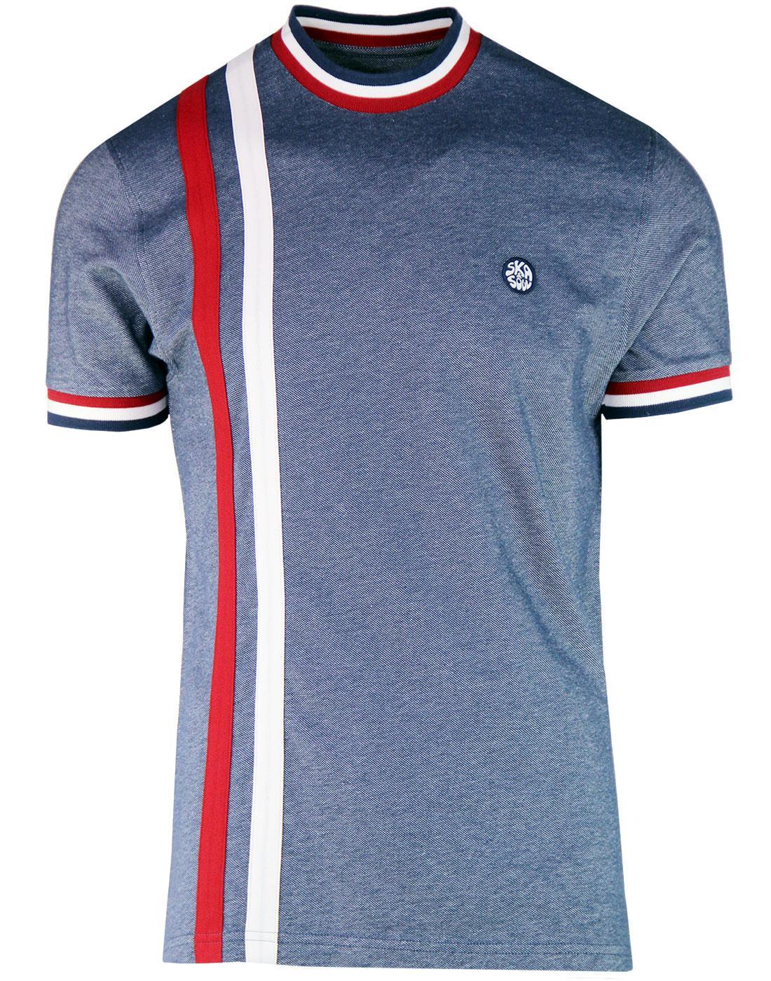 SKA & SOUL Mod Racing Stripe Oxford Pique T-shirt