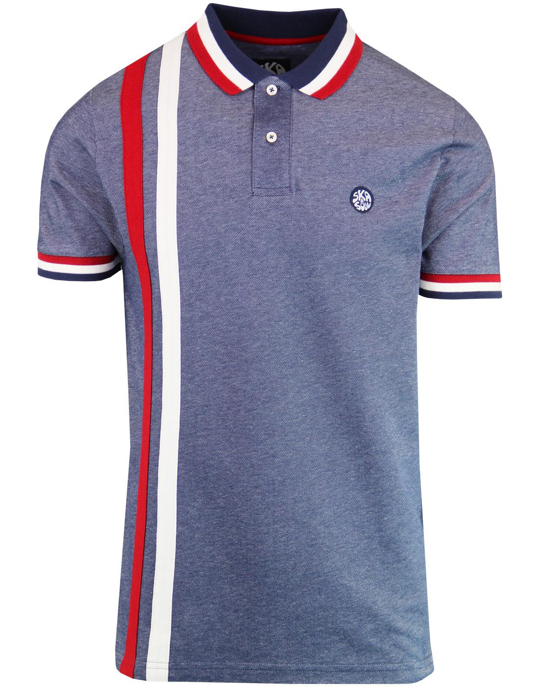 SKA & SOUL Mod Racing Stripe Oxford Polo Top NAVY