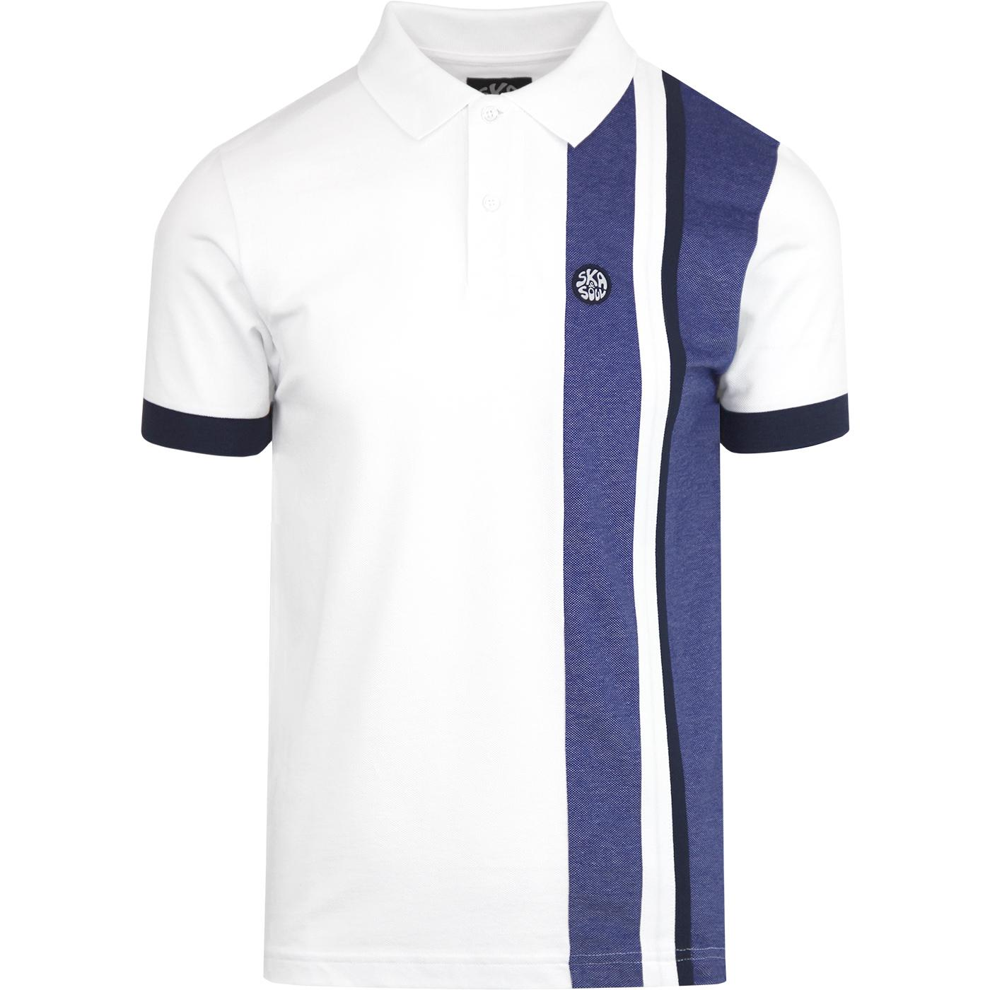 SKA & SOUL Mod Cut & Sew Racing Stripe Polo WHITE