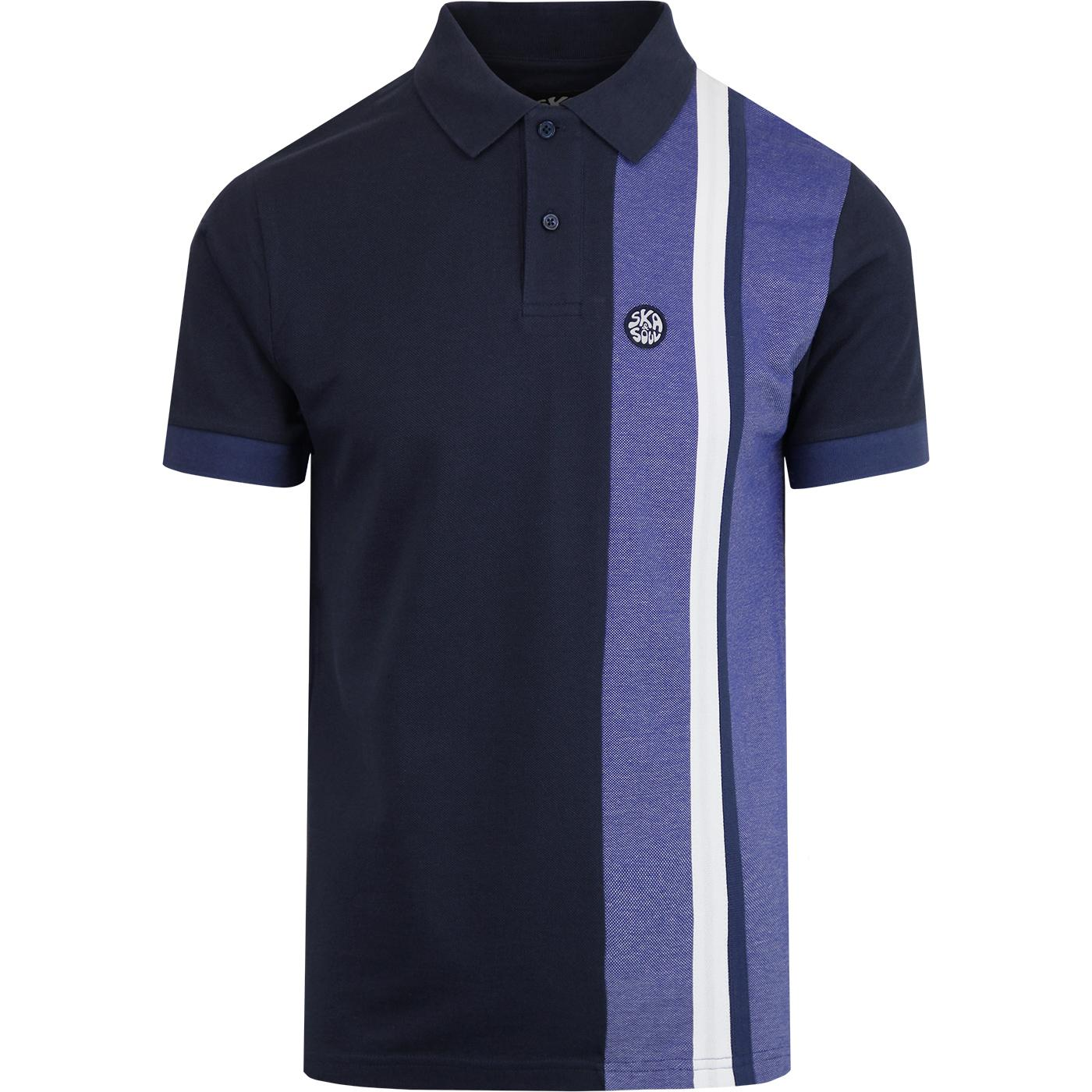 SKA & SOUL Mod Cut And Sew Racing Stripe Polo NAVY