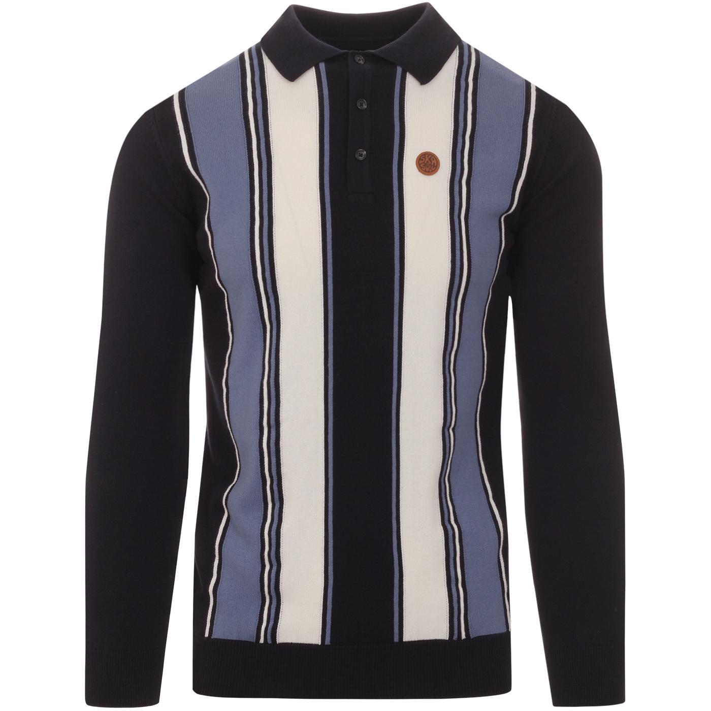 SKA & SOUL 60s Mod Stripe Front Knit Polo Top NAVY