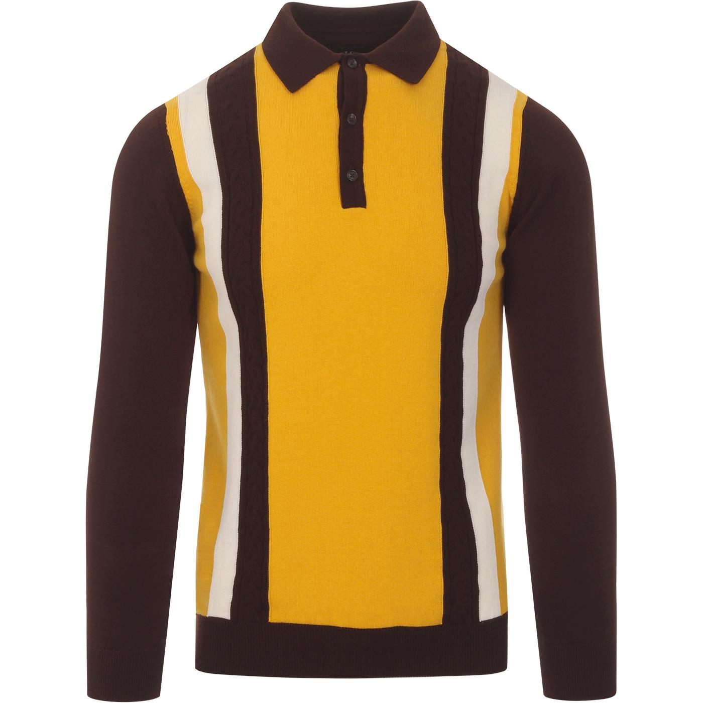 SKA & SOUL 60s Mod Stripe Cable Knit Polo Top (C)